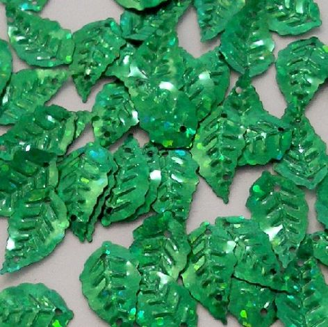 Small Green Hologram Leaf Sequins x 150